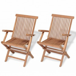 stradeXL Składane krzesła ogrodowe, 2 szt., lite drewno tekowe