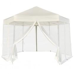 stradeXL Rozkładany namiot ogrodowy, 6 ścianek, 3,6 x 3,1 m, śmietankowy
