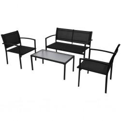 stradeXL 4-cz. zestaw wypoczynkowy do ogrodu, textilene, czarny