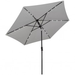 stradeXL Parasol na wysięgniku z LED, 3 m, biały