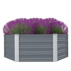 stradeXL Raised Garden Bed 129x129x46 cm Galvanised Steel Grey