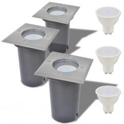 stradeXL Lampy najazdowe LED, 3 szt., kwadratowe