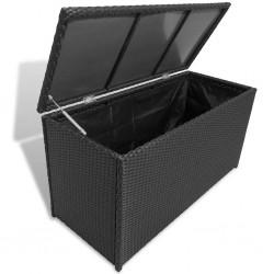 stradeXL Skrzynia ogrodowa, czarna, 120 x 50 x 60 cm, rattan PE