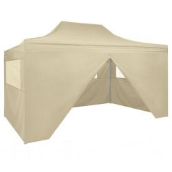 stradeXL Rozkładany namiot z 4 ścianami bocznymi 3x4,5 m, kremowy
