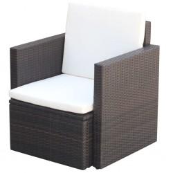 stradeXL Krzesło ogrodowe z poduszkami, polirattan, brązowe