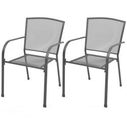 stradeXL Krzesła ogrodowe, sztaplowane, 2 szt., stalowe, szare