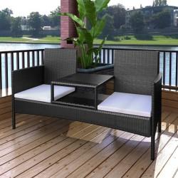 stradeXL Dwuosobowa sofa ogrodowa ze stolikiem, rattan PE, czarna