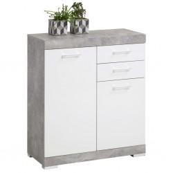 FMD Szafka, 2 drzwiczek i 2 szuflady, 80x34,9x89,9cm, biały i betonowy