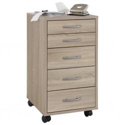 FMD Mobilna szafka z 5 szufladami, dębowa