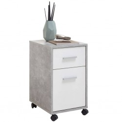 FMD Mobilna szafka z szufladą, betonowa szarość i biel