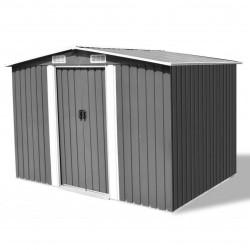 stradeXL Garden Storage Shed Grey Metal 257x205x178 cm