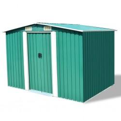 stradeXL Garden Storage Shed Green Metal 257x205x178 cm