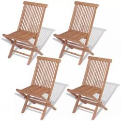 stradeXL Składane krzesła ogrodowe, 4 szt., lite drewno tekowe