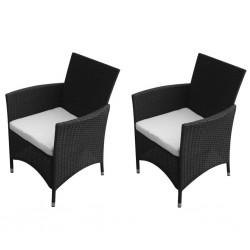 stradeXL Krzesła ogrodowe, 2 szt., polirattan, czarne