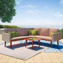 stradeXL 4-cz. zestaw wypoczynkowy do ogrodu, poduszki, rattan PE, szary