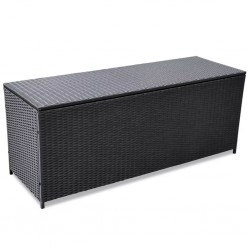 stradeXL Skrzynia ogrodowa, czarna, 150 x 50 x 60 cm, rattan PE