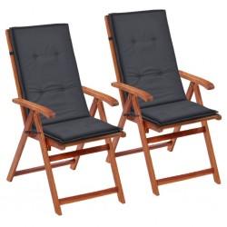 stradeXL Poduszki na krzesła ogrodowe, 2 szt., antracyt, 120x50x4 cm
