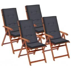 stradeXL Poduszki na krzesła ogrodowe, 4 szt., antracyt, 120x50x4 cm