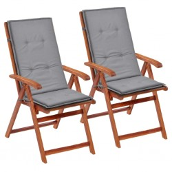 stradeXL Poduszki na krzesła ogrodowe, 2 szt., szare, 120x50x4 cm