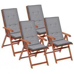 stradeXL Poduszki na krzesła ogrodowe, 4 szt., szare, 120x50x4 cm