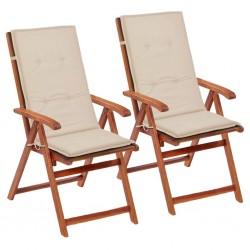 stradeXL Poduszki na krzesła ogrodowe, 2 szt., kremowe, 120x50x4 cm