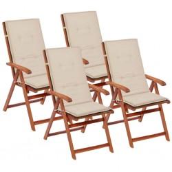 stradeXL Poduszki na krzesła ogrodowe, 4 szt., kremowe, 120x50x4 cm