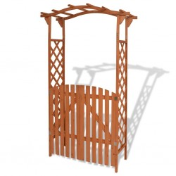 stradeXL Garden Arch with Gate Solid Wood 120x60x205 cm