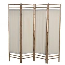 stradeXL 4-panelowy, składany parawan, bambus i płótno, 160 cm