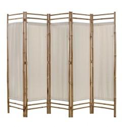 stradeXL 5-panelowy składany parawan z bambusowa i płótna, 200 cm
