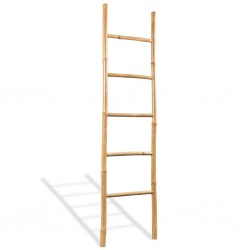 stradeXL Towel Ladder with 5 Rungs Bamboo 150 cm