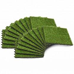stradeXL Sztuczna trawa w płytkach, 30x30 cm, 20 szt., zielona