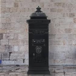 stradeXL Stojąca skrzynka na listy w stylu vintage, czarna, nierdzewna