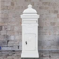 stradeXL Stojąca skrzynka na listy w stylu vintage, biała, nierdzewna