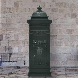 stradeXL Pillar Letterbox Aluminium Vintage Style Rustproof Green