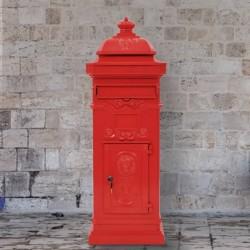 stradeXL Stojąca skrzynka na listy w stylu vintage, czerwona, nierdzewna
