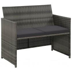 stradeXL 2-osobowa sofa ogrodowa z poduszkami, polirattan, szara