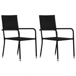 stradeXL Outdoor Dining Chairs 2 pcs Poly Rattan Black