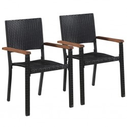 stradeXL Outdoor Chairs 2 pcs Poly Rattan Black