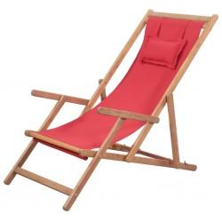 stradeXL Składany leżak plażowy, tkanina i drewniana rama, czerwony