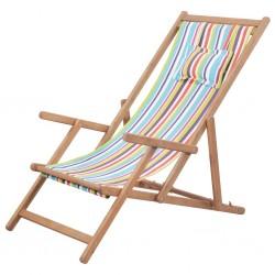 stradeXL Składany leżak plażowy, tkanina i drewniana rama, wielokolorowy