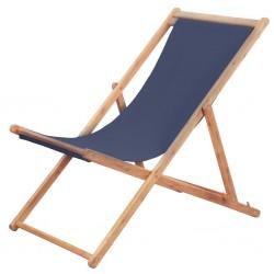 stradeXL Składany leżak plażowy, tkanina i drewniana rama, niebieski