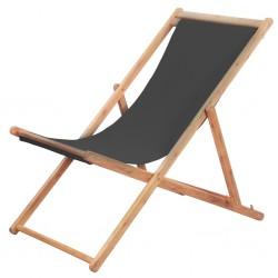 stradeXL Składany leżak plażowy, tkanina i drewniana rama, szary