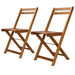 stradeXL Outdoor Bistro Chairs 2 pcs Solid Acacia Wood
