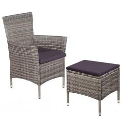 stradeXL Fotel ogrodowy z podnóżkiem i poduszkami, polirattan, szary