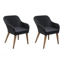stradeXL Krzesła ogrodowe z poduszkami, 2 szt., polirattan, czarne