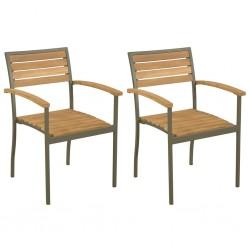 stradeXL Sztaplowane krzesła ogrodowe, 2 szt., drewno akacjowe i stal