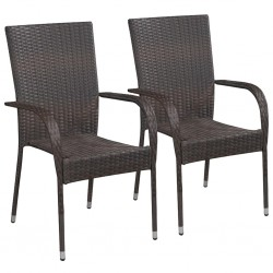 stradeXL Stackable Outdoor Chairs 2 pcs Poly Rattan Brown