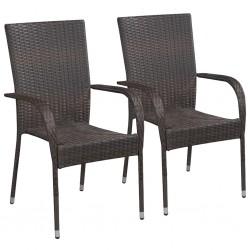 stradeXL Sztaplowane krzesła ogrodowe, 2 szt., polirattan, brązowe