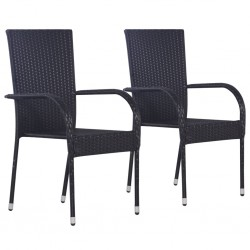 stradeXL Stackable Outdoor Chairs 2 pcs Poly Rattan Black
