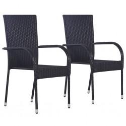 stradeXL Sztaplowane krzesła ogrodowe, 2 szt., polirattan, czarne